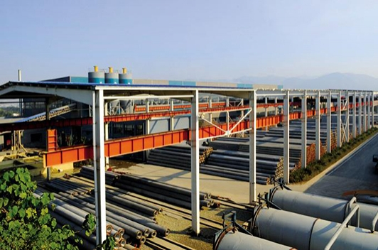 A centrifugal process for producing concrete piles in China
